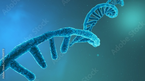 Stampa su Tela Coronavirus RNA strand. Medical illustration. 3D rendering