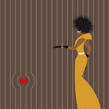 African Fashion Abstract Silhouette Of An African Woman With Curly Hair In A Long Yellow Dress With Black Polka Dots And Heart
