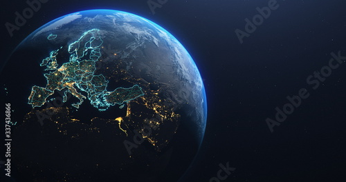 Planet Earth from Space EU Europe Countries highlighted, elements of this image courtesy of NASA - fototapety na wymiar