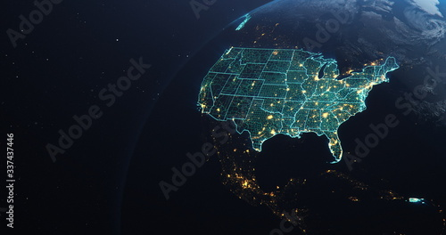 Planet Earth from Space USA, United States highlighted state border and counties Canvas-taulu