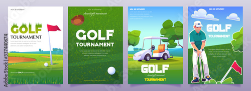 Fotografía Golf tournament posters with illustration of green course, cart, tee and player