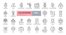 Volunteering, Charity Icons. S...