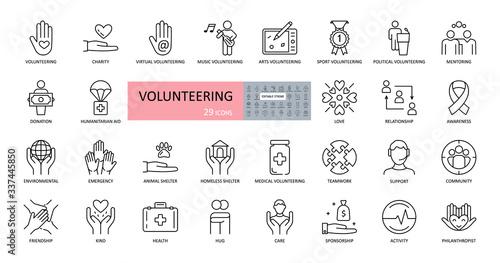 Volunteering, charity icons Fototapete