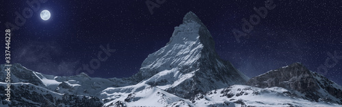Fotografia, Obraz panoramic view to the majestic Matterhorn mountain at night