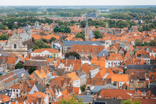 Panoramic View From The Belfort Tower On The Historic Part Of Bruges And The Cathedral Of St. Salvator, The Main Pedestrian Street With Many Shops, Belgium. Travel To Belgium.
