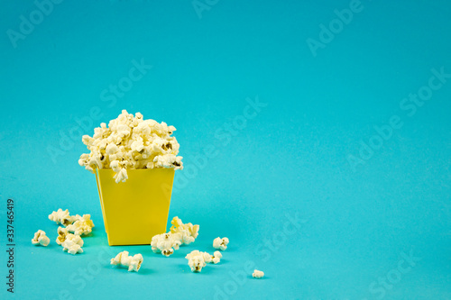 Photo bag with popcorn, fried and airy treats, the concept of relaxation and entertain