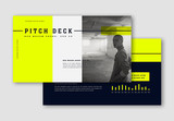 Pitch Deck Layout with Fluorescent Yellow Accents - 337465677