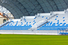 Blue And White Rows Of Seats O...