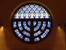 Stained Glass Window With Menorah Design