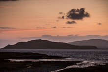 Sunset On Loch Na Keal, Eorsa From The Isle Of Mull, Scotland