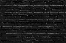 Black Painted Brick Wall Texture, Dark Background