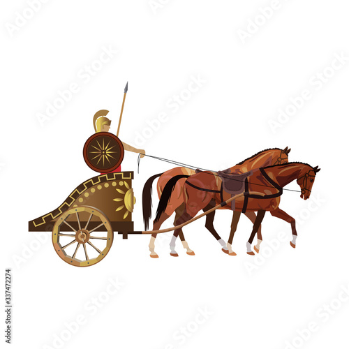 Roman warrior on an ancient war chariot drawn by two horses Canvas Print