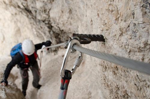 Fotografie, Obraz Mountain climbing, ferrata trekking, alpen, dolomity