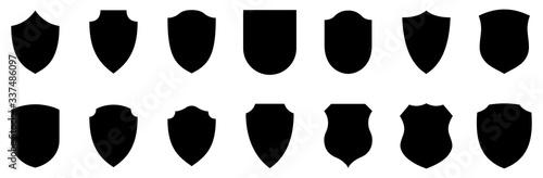 Obraz na plátně Set of shields. Protection. Vector graphics