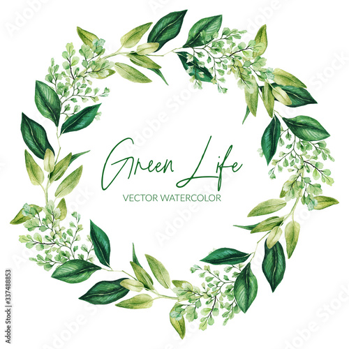 Obraz Green watercolor leaves and branches wreath, hand drawn - fototapety do salonu