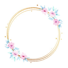 Golden Round Frame With Watercolor Pink Flowers Isolated On White Background. Floral Geometric Border For Wedding Invitations And Cards