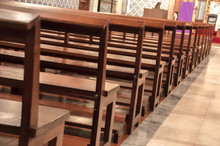 Detail Of Wooden Benches Inside A Church