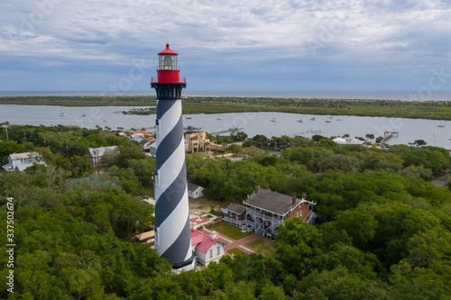 Photo Aerial view of lighthouse in St. Augustine Florida.
