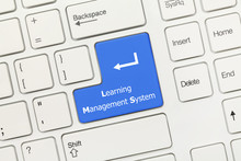 White Conceptual Keyboard - Learning Management System (blue Key)
