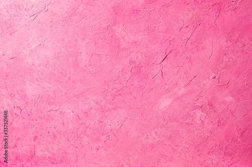 荒々しいタッチの筆跡が残る、ピンク色にペイントされたキャンバスの背景テクスチャー Canvas Print