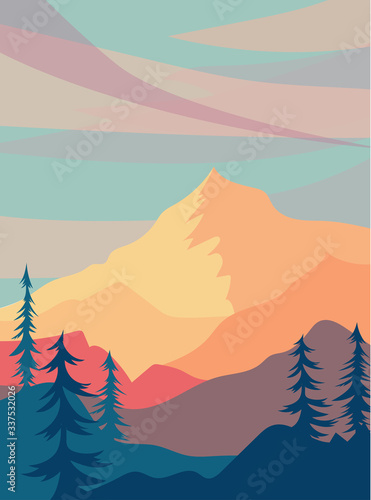 sunny landscape with mountains. warm illustration with hills, trees and clouds. Vector horizontal background