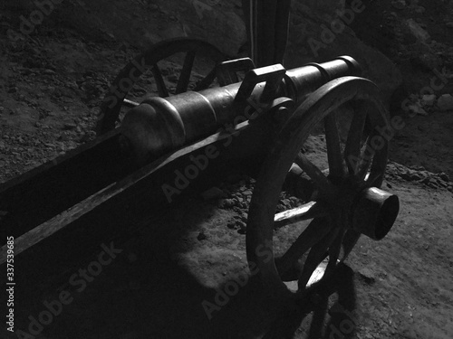 Valokuvatapetti High Angle View Of Cannon On Field