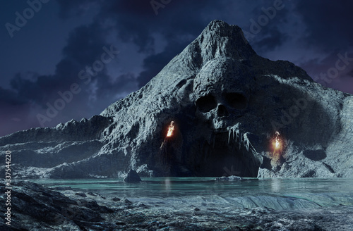 3d render of skeleton cave with torches. Fototapet