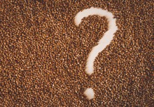 Closeup Shot Of Surface Almost Fully Covered With Buckwheat,  Except The Question Mark
