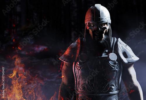 Fotografía 3d render of viking warrior standing in woods.