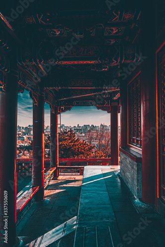 View from old chinese building in Jingshan Park, Beijing, China Fototapet