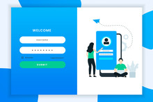 Flat Design Login Illustration...