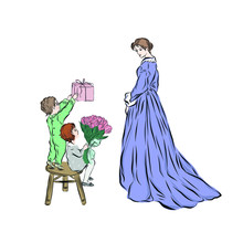 Mothers Day. Children Congratulate Mom And Give A Bouquet Of Flowers And A Gift. Happy Family. Son And Daughter. Hand Drawn Vintage People.