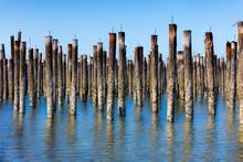 Rows Or Pier Posts In The Ocean