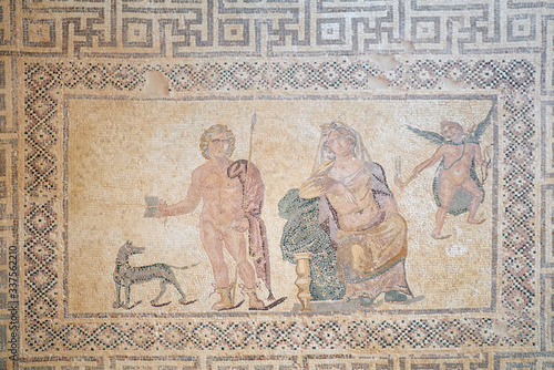 Phaedra and Hippolytos mosaic floor in the villa of Dionysos Canvas Print