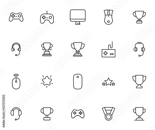 Tablou Canvas Simple set of gaming icons in trendy line style.