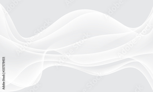 Fototapeta Abstract white wave curve on grey luxury background vector illustration. obraz