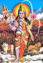 Lord Shiva Bull  Holy Parvati Lion  Mythology Hinduism  Illustration