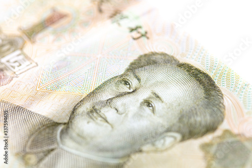 Fototapeta Portrait of Mao Zedong on China Paper Currency.