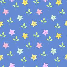 Seamless Vector Abstract Pattern Of Small Daylily Flowers In Different Colors And Leaves Arranged Randomly On A Blue Background. Made In The Flat Style, Perfect For Scrapbooking.