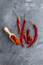 Dried Red Chili Peppers And Chili Powder