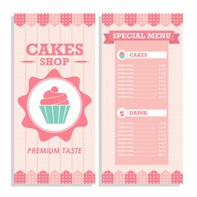 Set Of Cakes Menu Shop In Pink...