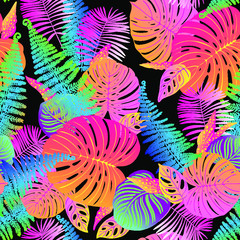 Fototapeta Liście Pattern vector neon tropical leaves of palm, monstera, fern. Pink, purple and blue plants on a black background.