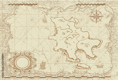 Cuadros en Lienzo vector image of an old sea map in the style of medieval engravings