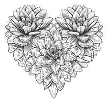 A Love Heart Shape Flower Patt...