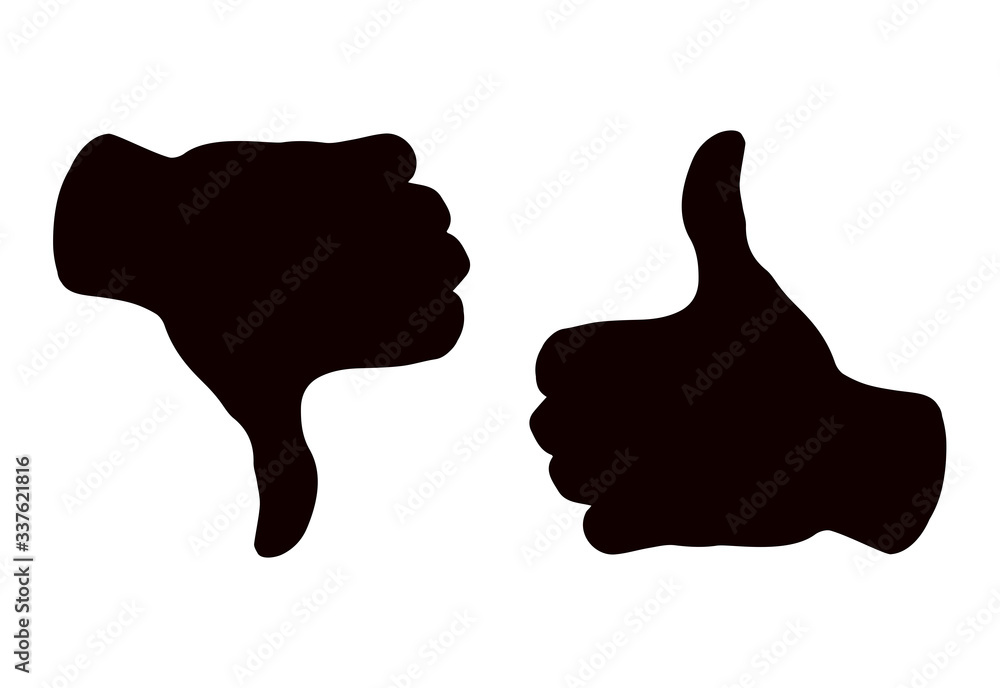 Fototapeta Thumbs up and down. Yes and no concept. Vector drawing