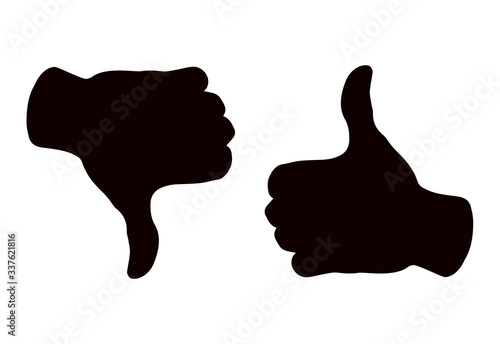 Fototapeta Thumbs up and down. Yes and no concept. Vector drawing obraz