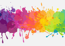 Bright Colorful Banner. Vector Horizontal Banner With Colorful Paint Stains And Splatters. Vibrant And Colorful Banner Template.