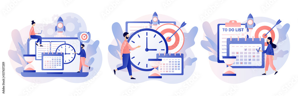 Fototapeta Self Discipline and Motivation concept. Tiny people which time management, self control system, self management, target, productivity.Modern flat cartoon style. Vector illustration on white background