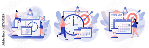 Fototapeta Self Discipline and Motivation concept. Tiny people which time management, self control system, self management, target, productivity.Modern flat cartoon style. Vector illustration on white background obraz