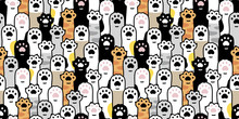 Cat Paw Seamless Pattern Footprint Vector Kitten Breed Calico Ginger Scarf Isolated Cartoon Doodle Tile Wallpaper Repeat Background Illustration Textile Design